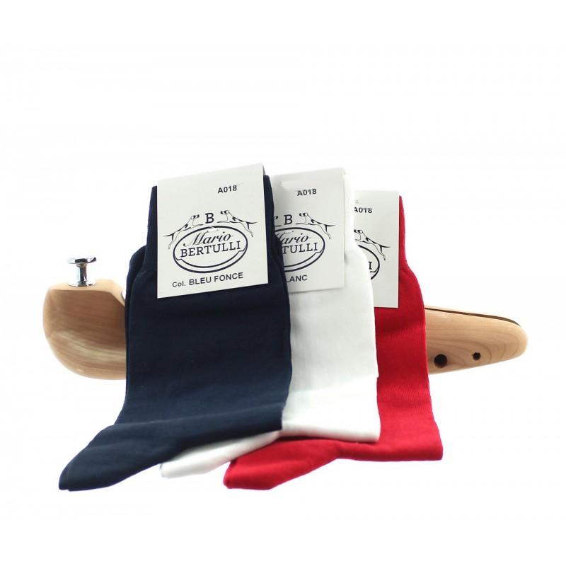 1 PACK OF 3 LISLE COTTON SOCKS - DARK BLUE/WHITE/RED