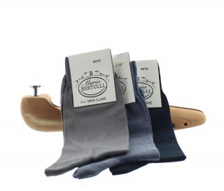 1 PACK OF 3 LISLE COTTON SOCKS - LIGHT GREY/DARK GREY/DARK BLUE