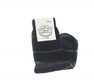 Black wool/cachemire striped socks - Luxury Cashmere Socks Men from Mario Bertulli - specialist in height increasing shoes