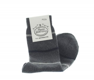 Anthracite wool/cachemire striped socks - Luxury Cashmere Socks Men from Mario Bertulli - specialist in height increasing shoes