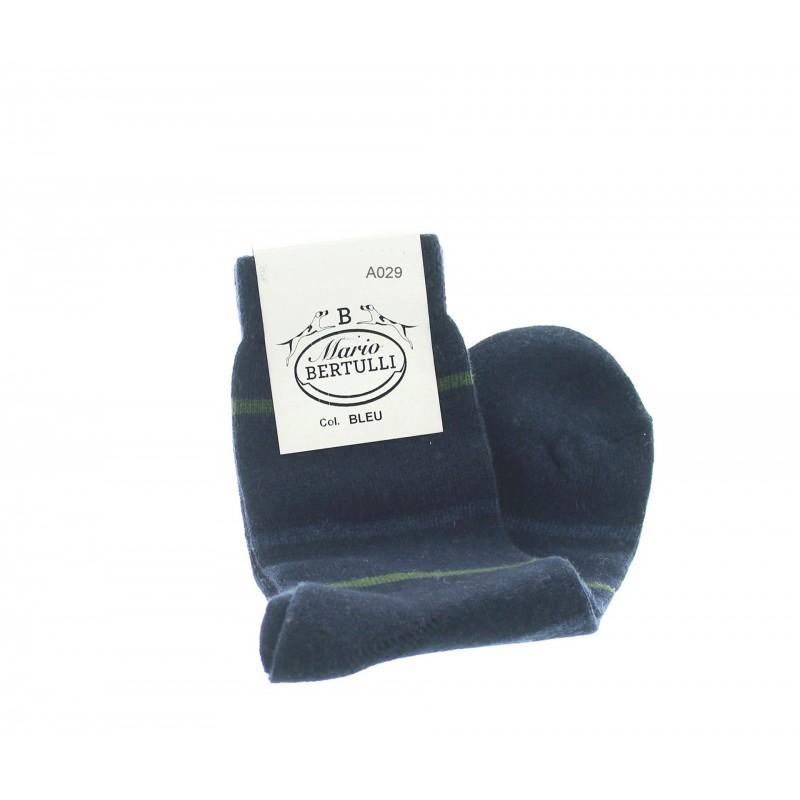Dark blue wool/cachemire striped socks - Luxury Cashmere Socks Men from Mario Bertulli - specialist in height increasing shoes