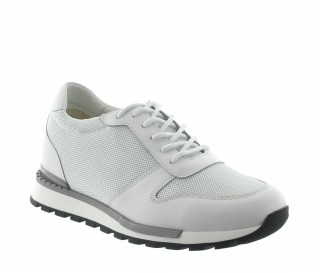 Elevator Sneakers Men - White - Leather/mesh - +2.8'' / +7 CM - Sirmione - Mario Bertulli