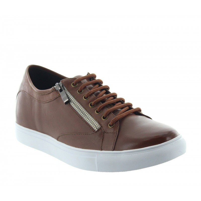 Elevator Sneakers Men - Brown - Leather - +2.4'' / +6 CM - Albori - Mario Bertulli