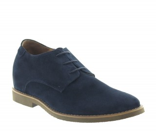 Elevator Derby Shoes Men - Navy blue - Nubuk - +2.4'' / +6 CM - Cefalu - Mario Bertulli