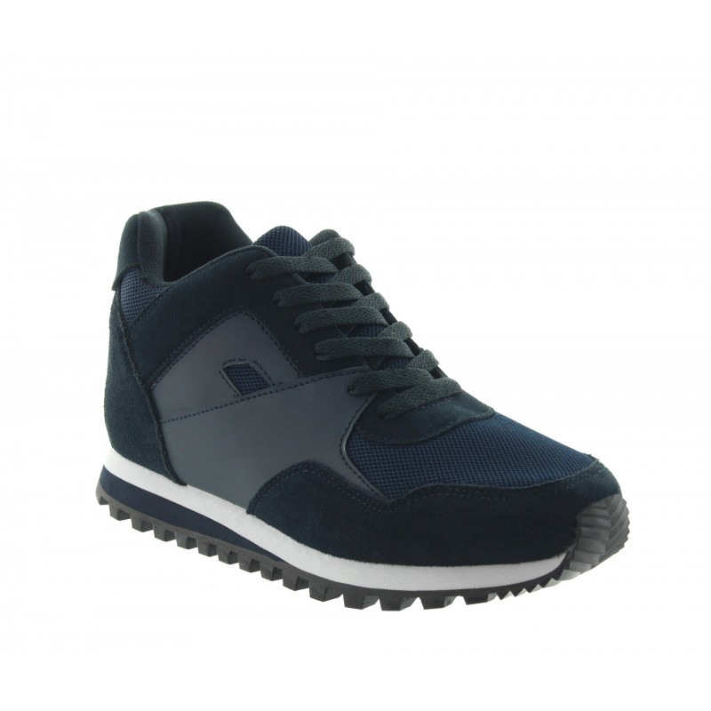 Elevator Sports Shoes Men - Navy blue - Leather/nubuck/mesh - +2.8'' / +7 CM - Pelago - Mario Bertulli