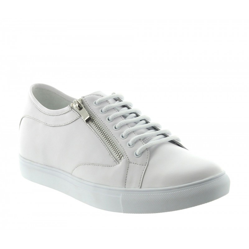 Elevator Sneakers Men - White - Leather - +2.4'' / +6 CM - Albori - Mario Bertulli
